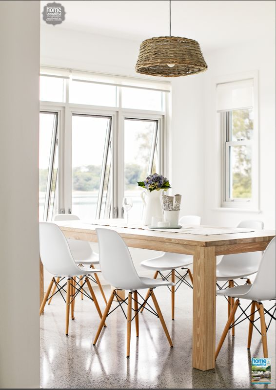 Floor to ceiling windows brighten up this dining space