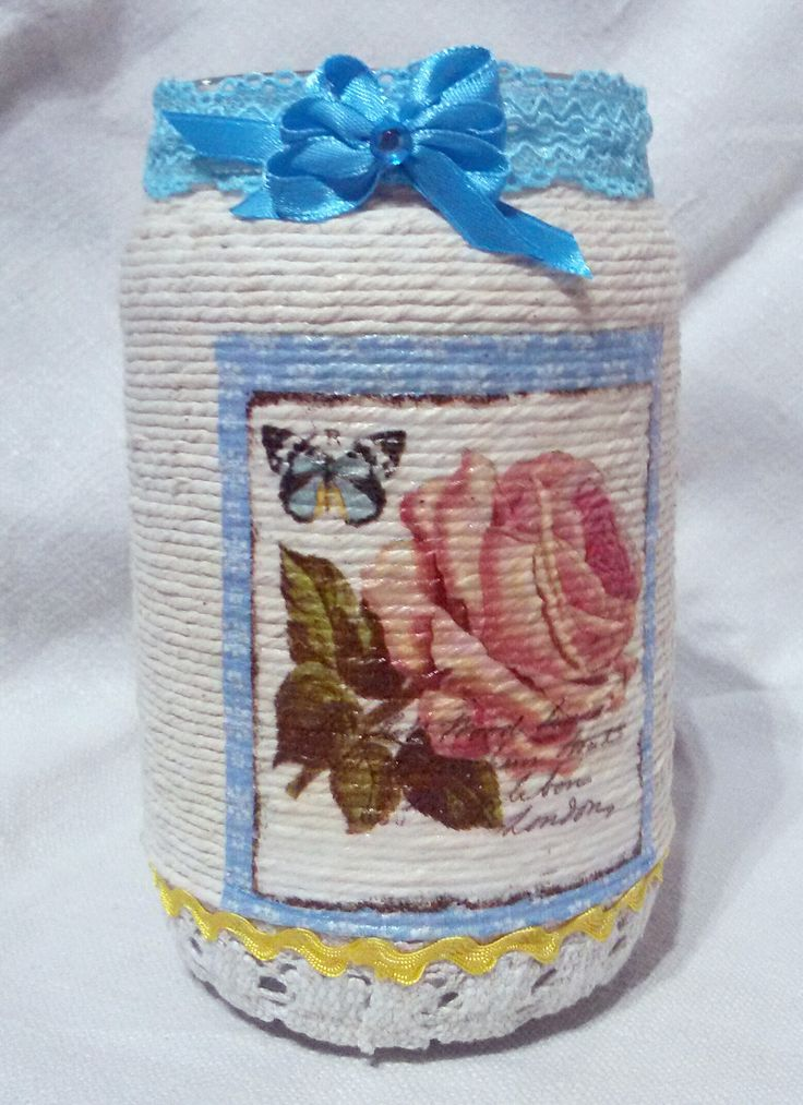 Shabby mason jar covered with rope by Rocreanique