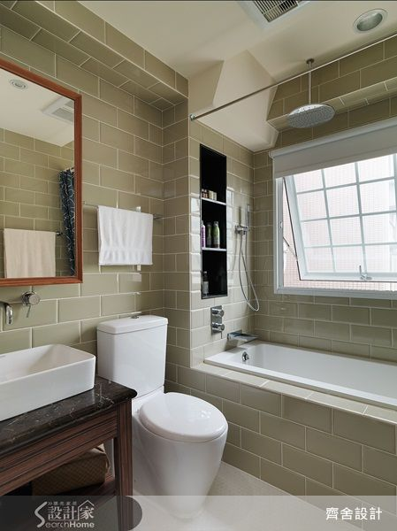 subway tiles and small space modern bath