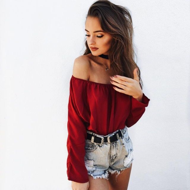 Off the shoulder red long sleeve top jean shorts summer outfit fashion