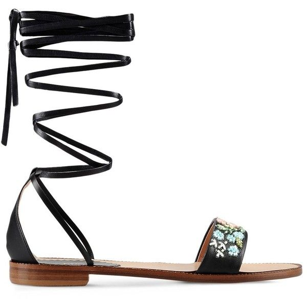 Redvalentino Flat Sandal ($385) ❤ liked on Polyvore featuring shoes, sandals, black, ankle strap flat sandals, ankle strap flats, flat pumps, beaded sandals and ankle wrap flats