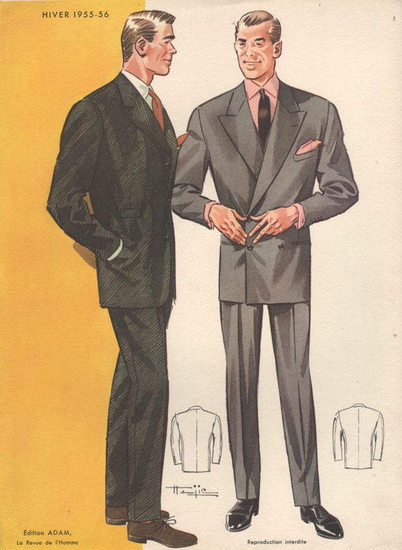 1955 Fashion print showing two men in suits.  From CollectorsPrints.com