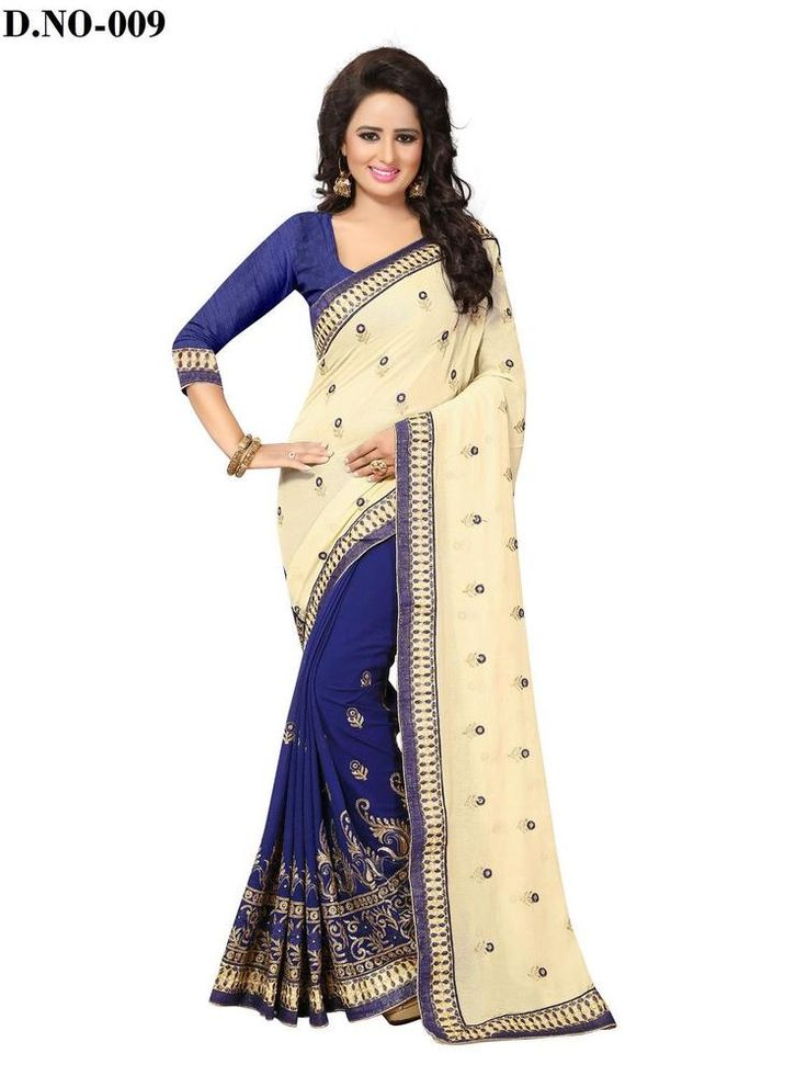 Indian Designer Chiffon Ethnic Wear Bollywood Saree Party Wear Beige & Navy Blue #RadhaKrishnaExports #BollywoodSaree #PartyWear