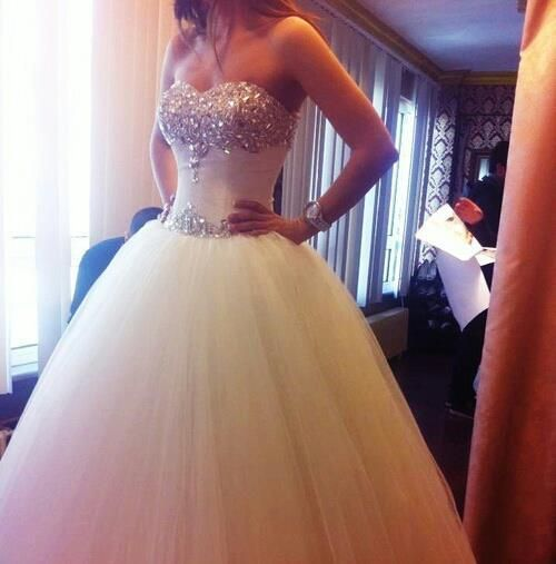 GORGEOUS dress lots of bling.. with tulle skirt. the perfect fairy tale gown...