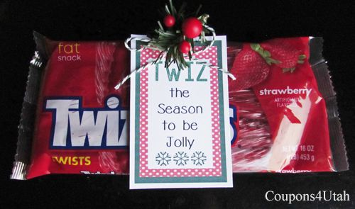 Free printable Twiz the Season Gift Tag. Quick and easy neighbor gift for Christmas - Coupons4Utah