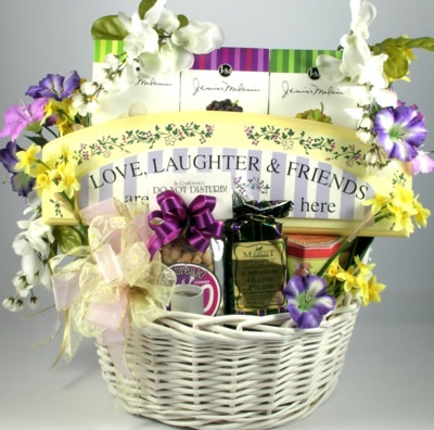 For A Very Special Friend    This large and very unique gift basket will take her breath away when it arrives at her door!  It's stunning!! Like an enchanted garden, it is an over-sized beautiful basket that is just blooming with gifts and gourmet goodies galore.    $148.99 http://www.littlegiftbasketboutique.com/item_707/For-A-Very-Special-Lady.htm