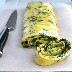 Spinach and Cheddar Rolled Omelette - this would be perfect when serving a crowd