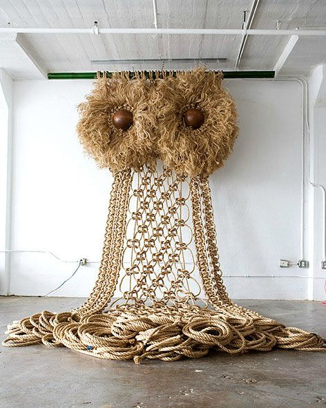 Wow! The owl. 15 x 35 feet, Macrame owl by Andy Harman.