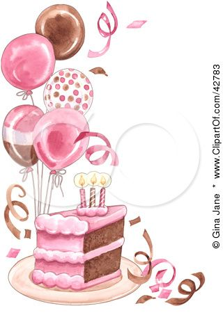 Clipart Illustration of a Slice Of Birthday Cake With Balloons And Confetti by Gina Jane