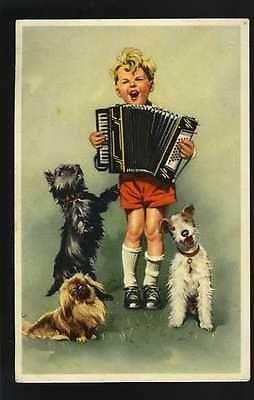Postcard Children: Boy with accordion around dogs