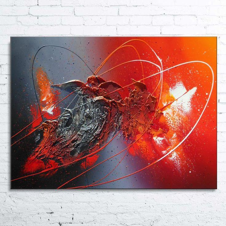 Tableau abstrait contemporain ALDEBARAN peinture moderne acrylique toile en relief noir rouge bordeaux argenté blanc