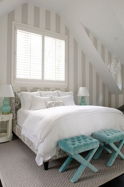 Love the pop of blue: Benches, Stripes Wall, Bedrooms Design, Grey Stripes, Blue Bedrooms, Colors Schemes, Beds Frames, Guest Rooms, Stools