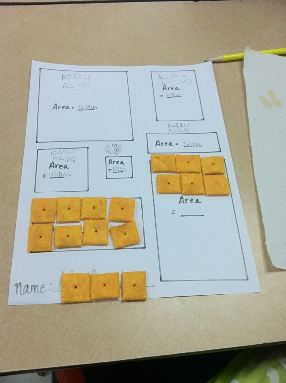 Find the area using cheezits! Great way to keep kids engaged.