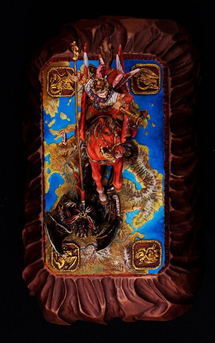 Архангел Михаил «Победа над сатаной» . Эксклюзивная роспись. Артикул: 168ex Мастерская Адама