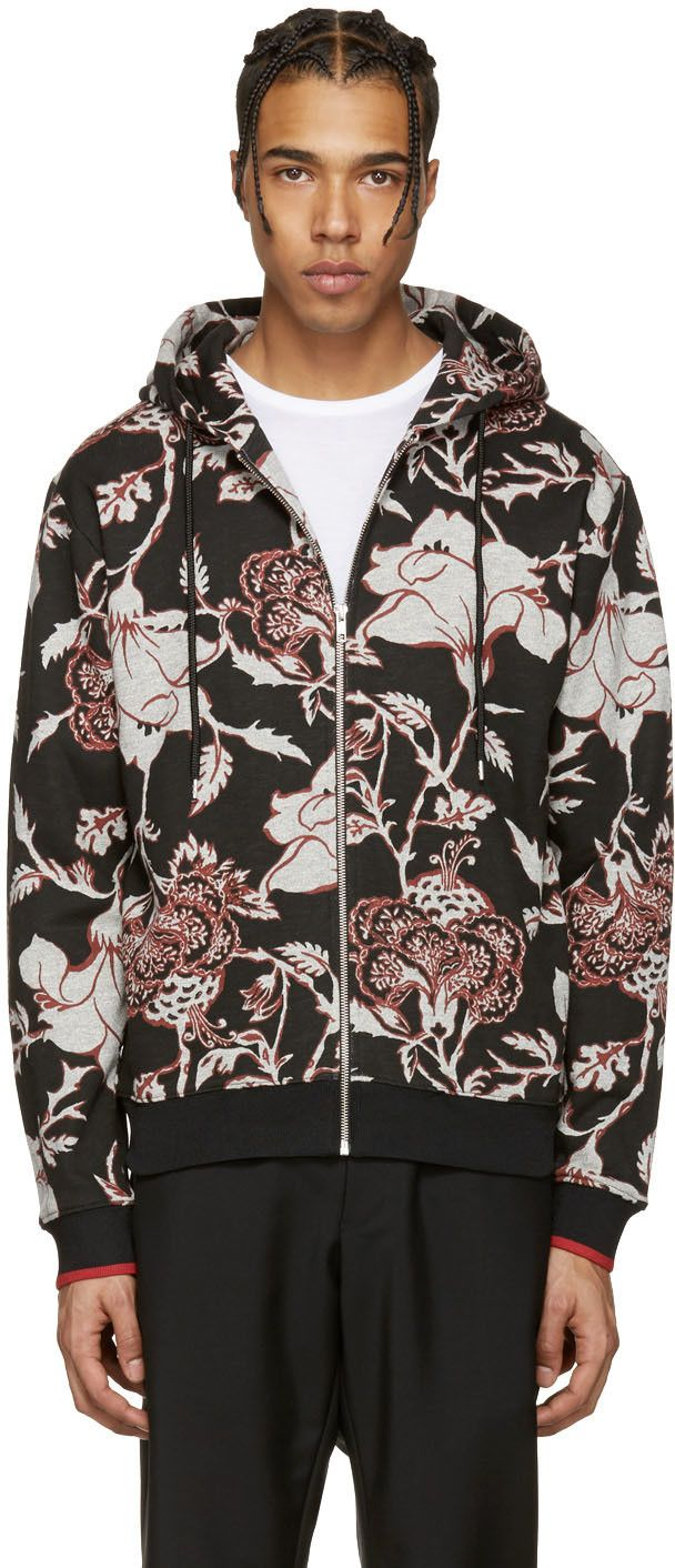 McQ Alexander McQueen - Black Floral Clean Hoodie