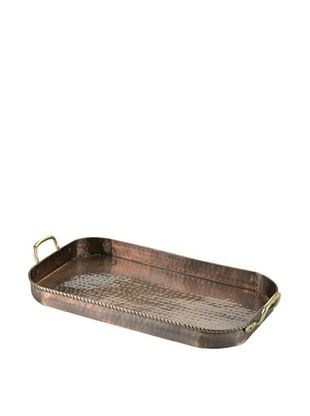 57% OFF Old Dutch International Oblong Tray with Cast Brass, Antique Copper, 18