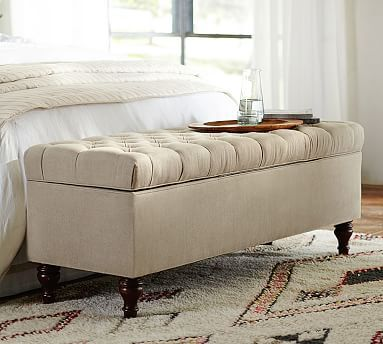 "Lorraine Tufted Storage Bench - Pottery Barn.  Available in multiple different fabrics and colors.    58"" w x 19"" d x 21.5"" h.   $799 – $949 retail."