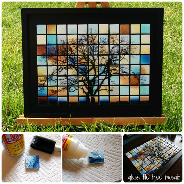 Take a picture and print it off in four different colors. Cut up and modge podge on to glass tiles. Then frame