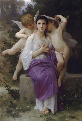 윌리앙 아돌프 부그로(William Adolphe Bouguereau)의 The Heart's Awakening / 1892