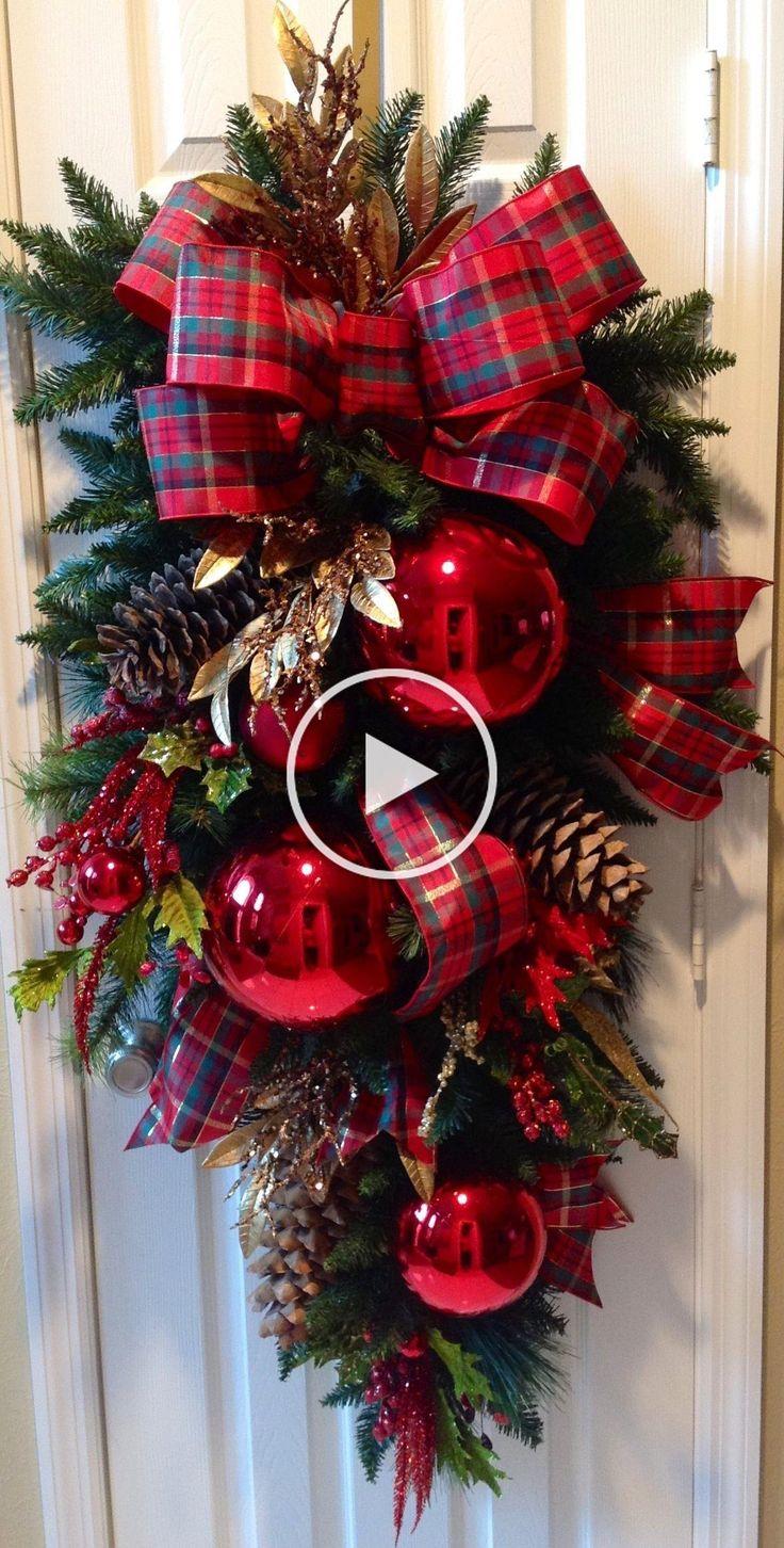 Guirnalda en 2020 | Adorno puerta navidad, Manualidades