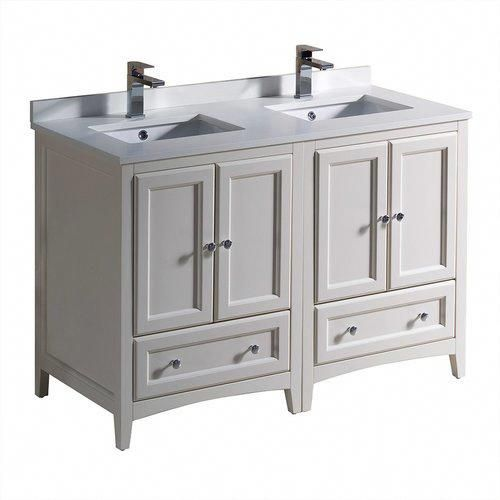Fresca Oxford 48 Antique White Double Sink Bathroom Cabinets W