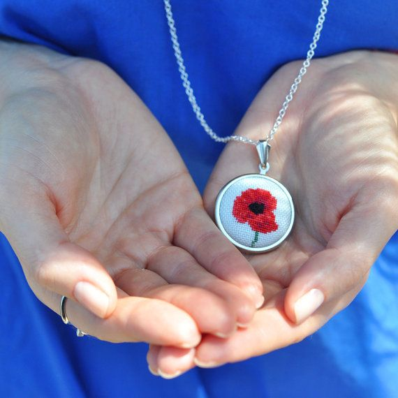 Poppy Necklace. Red Statement Necklace. Boho Necklace. Botanical Jewelry. Mothers Day Gift. Mother Necklace. Hand Embroidered. Love Keepsake