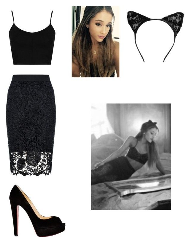 """Ariana Grande Inspired look from the Love Me Harder music video"" by daydreaming-past-midnight ❤ liked on Polyvore featuring Quiz, Topshop, claire's and Christian Louboutin"