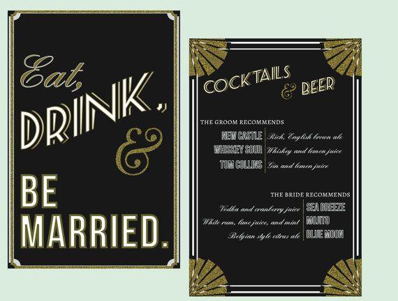 Art Deco Eat, Drink and Be Married Sign // Wedding Signage, Cocktail Menu, Drink List, Bar Menu, Cake Sign
