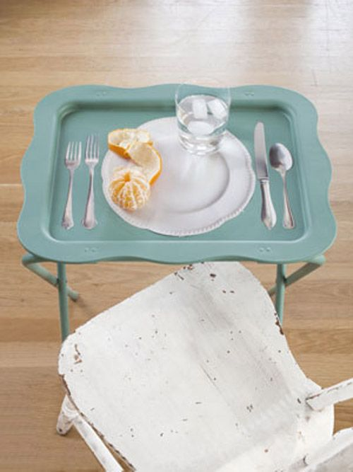 Decoupage table with faux utensils.  Love this gotta try!