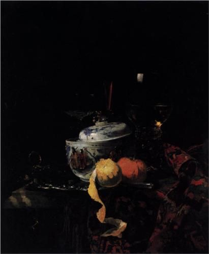 Still-Life with Chinese Porcelain Bowl - Willem Kalf