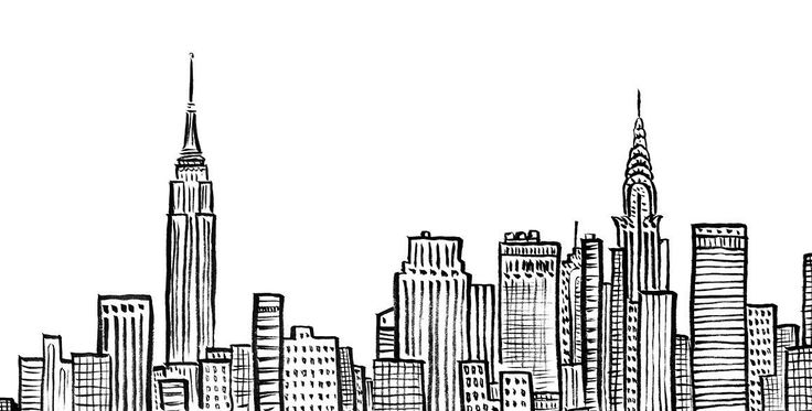 New York City Skyline, NYC, Empire State, Chrystler Building, ink, line art, Duopress, Doodle New York