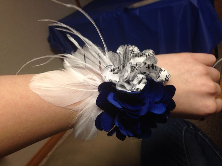 Handmade wrist corsage for prom. Blue and music notes with ...