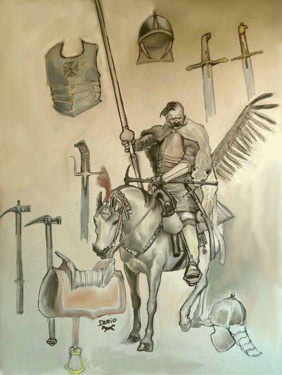 Ciekawy szkic przedstawiający towarzysza husarskiego.