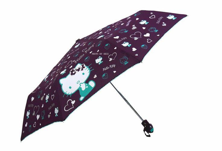 Hello Kitty Umbrella 3 Fold Automatic Auto Button Woman Lady Child Girl Purple