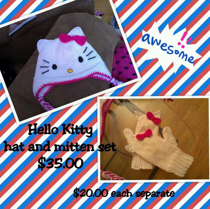 hello kitty hat and mitts