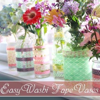 Easy Washi Tape Vases!