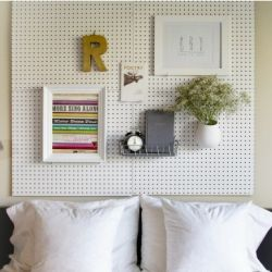 Simple DIY pegboard headboard.