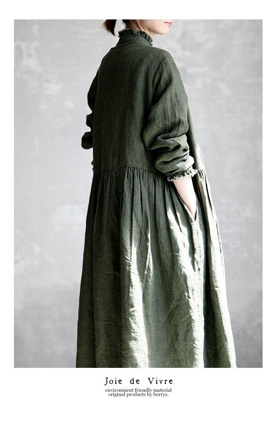 BerryStyle | Rakuten Global Market: Joie de Vivre Italy linen vintage processing dyeing Cache-coeur dress