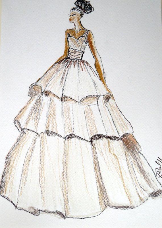 Robe de mariée mariage robe dessin sirène robe de par Myartspace