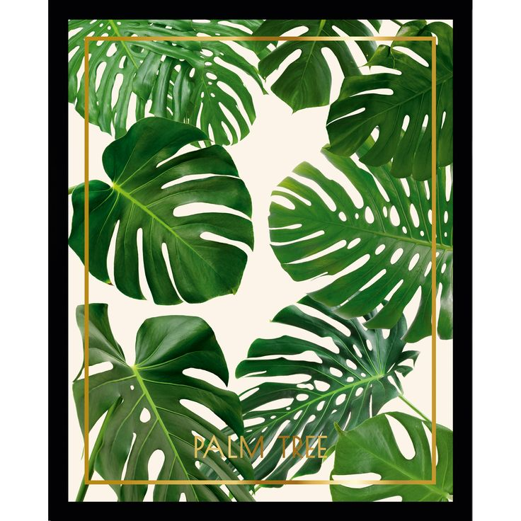 Cadre décoratif feuille tropicale Cériman vert en bois MDF et verre TROPISK