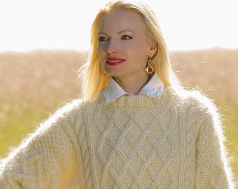 Made to order hand knitted winter mohair sweater, cable knit Aran jumper in ivory off white by SuperTanya