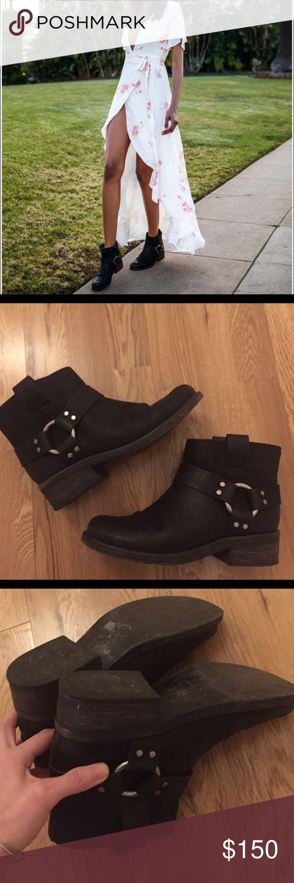 All Saints Obert leather biker boots *like new Excellent condition and conditioned leather all Saints black leather ankle biker boots. Style: Obert. No zippers just sling in, as shown in last pic, fits true to size, no wearing down of heel as shown in pic 3, heel 4cm All Saints Shoes Ankle Boots & Booties