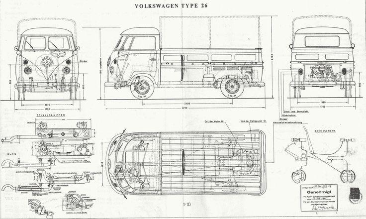 Volkswagen Type 2 T1 Blueprint Vw Bus Desenhos De