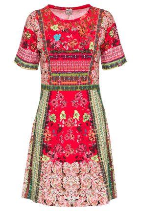 Kooi knitted dress red floral print jurk bloemen print rood via cocon utrecht.nl