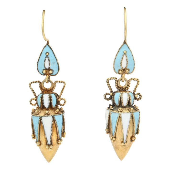 The Ultimate Amphorae Earrnings, Victorian Era. The detail here is superb. Inverted blue hearts or shields suspend urns of blue and white enamel drawn on 18kt gold. Small gold beads are applied to the top and to the lowest point of each triangle and can be seen from behind where the gold is not enameled. As urns often do, these have handles, here fashioned of twisted gold. Italy, c 1870-90