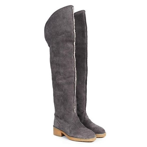Beyond Skin Farah Grey Faux Sheepskin Over The Knee Vegan Boot non leather pleather with synthetic faux leather lining 100% Vegan, vegetarian and cruelty-free.