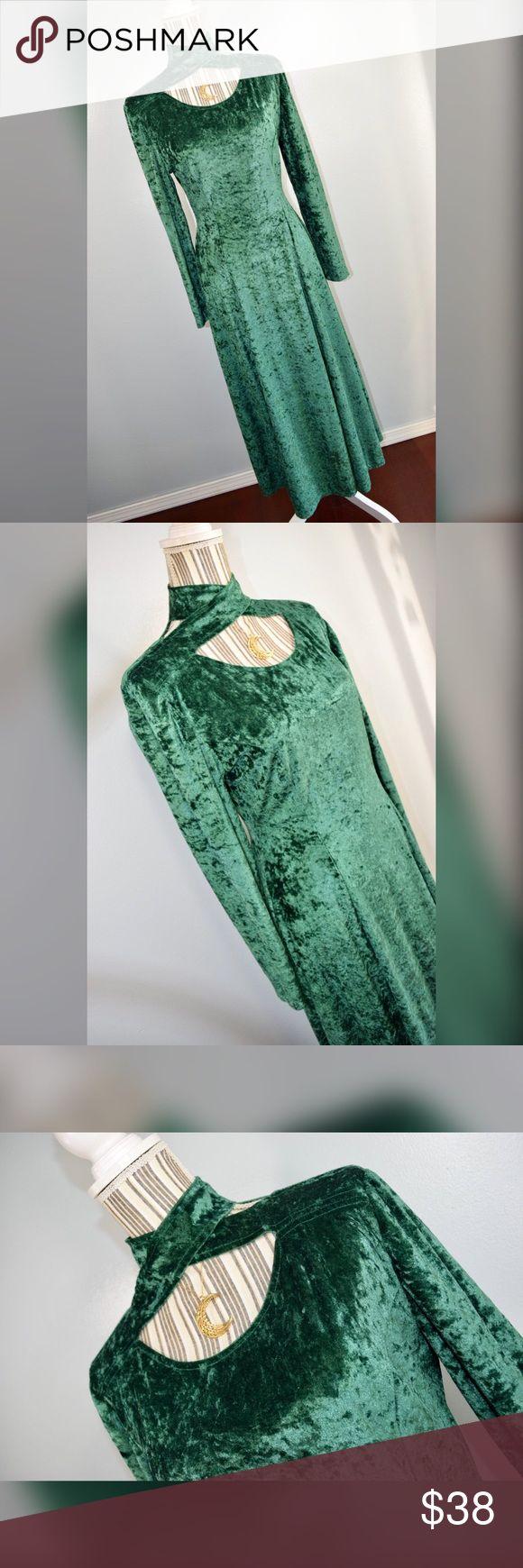 "{vintage 90s scarlett} Green Velvet Maxi Dress Vintage 90s green velvet maxi dress with cross cross collar by Scarlett. Size 7-8.   Closure: Zipper in the back  Material: 85% Polyester 15% Lycra   Measurements  Bust: 34"" lying flat, stretches to 38""  Waist: 28"" lying flat, stretches to 34""  Hips: 50""  Shoulder to Hem Length: 50""  Sleeve Length: 23"" Scarlett Dresses Maxi"