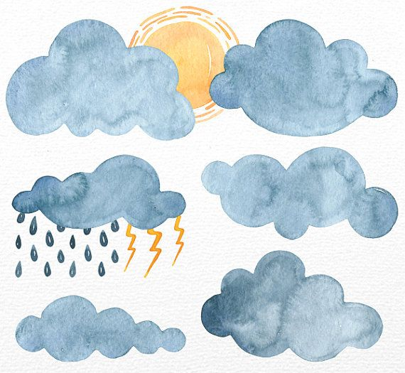 Watercolor Clouds Clipart, Clouds Clipart, Watercolor clipart, clip art, 9 PNG files, Sun, Rain, Logo, Personal and Commercial Use