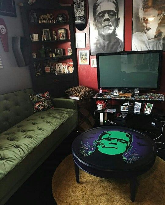Posted By: @spitfireinteriors. Goth BedroomGothic RoomHorror DecorHalloween  ...