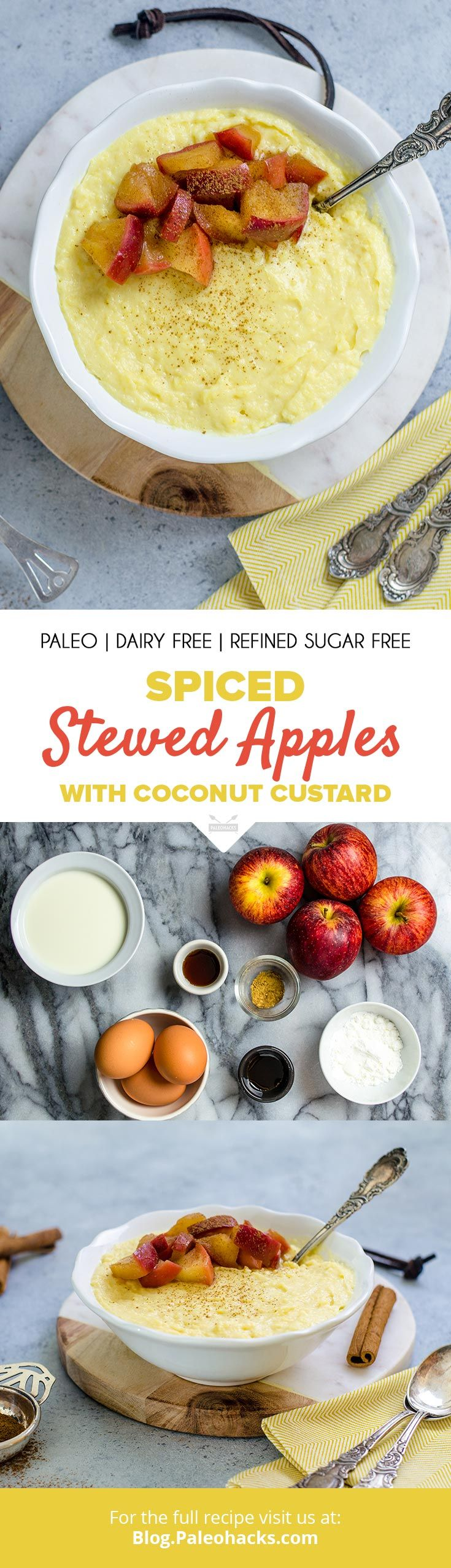 Top creamy, dairy-free coconut custard with warm stewed apples for a light and healthy dessert. Get the full recipe here: http://paleo.co/stewedapples